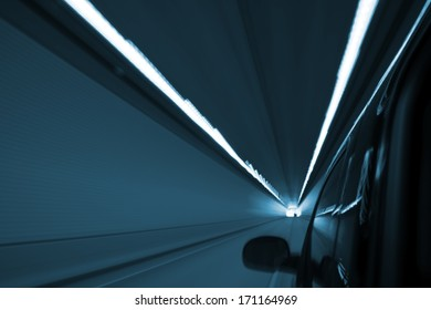 Tunnel Ride. Motion Blurred Photo During Tunnel Ride. Transportation Collection