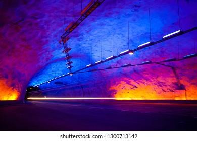 Lærdal Tunnel runs for 24.5km between Aurlands and Lærdal, Norway
