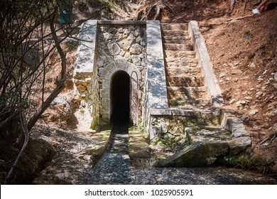 Tunnel at Seven Springs (or Epta Piges) park at Rhodes island