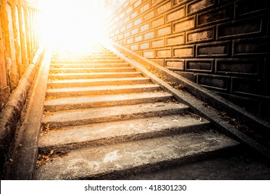 tunnel Staircase going up to the light