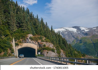 Tunnel towards Whittier - Alaska AK American Road trip Sightseeing Nature - Prince William Sound - Whittier - Seward Area. salmon fishing towns and cruise launching spots