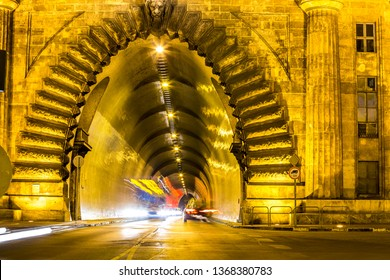 Tunnel under the castle hill in Budapest, Hungary