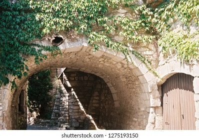 Tunnel in village of Vogue, Ardeche, France