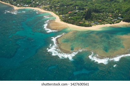 Tunnels Beach From The Air In The Island Of Kauai