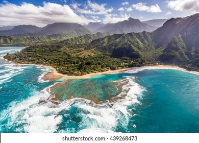 Tunnels beach from the helicopter on the scenic Island of Kauai, Hawaii