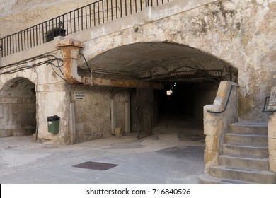 Tunnels leading deep underground to the world war 2 Mediterranean Headquarters Lascaris War Rooms, Valletta, Malta, June 2017