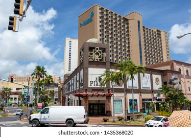 Tuom, GUAM, USA - June 26, 2019: Tumon is the center of Guam tourism industry. Hotels, shopping centers and restaurants are concentrated  around Tumon Bay.