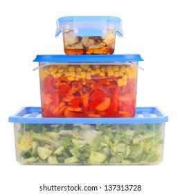 Tupperware storage with vegetables