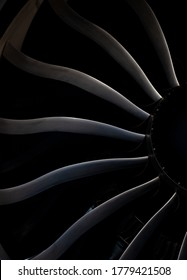 Turbine blades of an aircraft jet engine. Close up Turbines Engine. Aviation Technologies. Aircraft jet black detail during maintenance. Background. Macro.