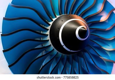 Turbine Blades. Blue light