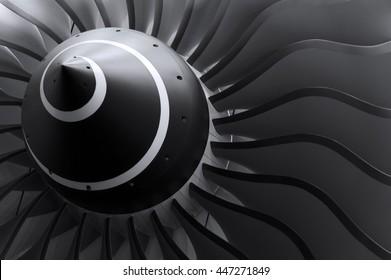 Turbinenschaufeln von Turbo-Strahltriebwerken für Passagierflugzeuge, Flugzeugkonzept, Luft- und Raumfahrtindustrie, selektiver Fokus