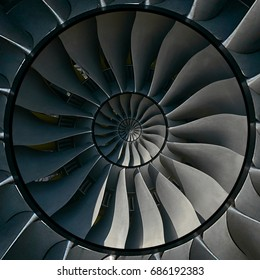 Turbine blades wings effect abstract fractal pattern background. Circle round turbine blades production metallic background. Turbine industrial technology abstract door hatch fractal pattern staircase