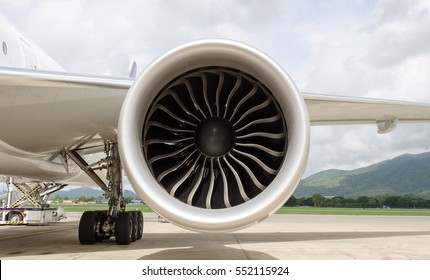 Turbine of engine airplane in airport background
