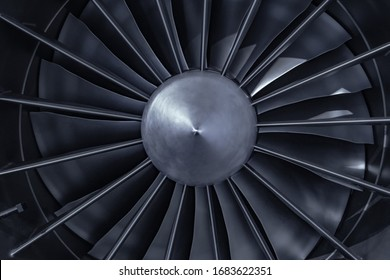 Turbine Engine. Aviation Technologies. Aircraft jet engine detail during maintenance. Blue toned.