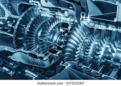 Turbine Engine Profile. Aviation Technologies. Aircraft jet engine detail in the exposition. PT6