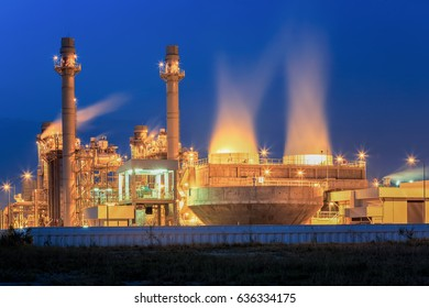 Turbine generator and cooling tower system in electric  power plant  with twilight support all factory in industrial Estate
