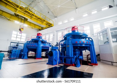 Turbine generators. Hydroelectric power plant. Interior