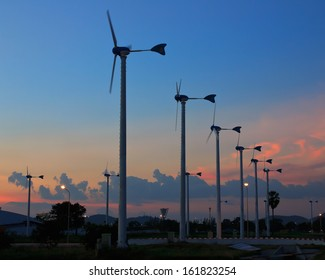 Turbine producing renewable energy, at Thailand.