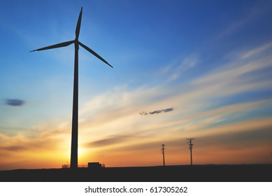Turbine wind turbine in the sky