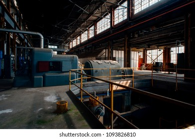 Turbines inside the derelict power plant at the long abandoned Indiana Army Ammunition Plant, which produced black powder and mostly closed after the Vietnam War.