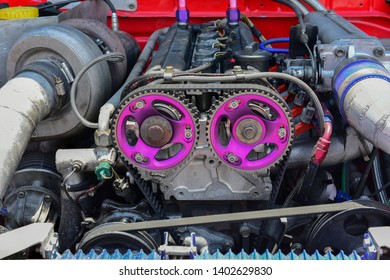 Turbo charger installed on car engine for power booster torque drive