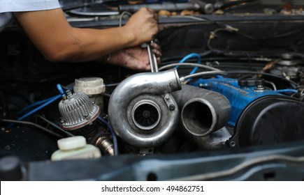 Turbo charger on car engine.