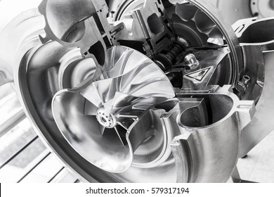 Turbocharger structure with cross section, black and white photo with soft selective focus