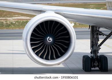 A turbofan engine of a passenger aircraft.
