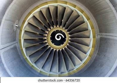 Turbofan jet engine in modern airliner.