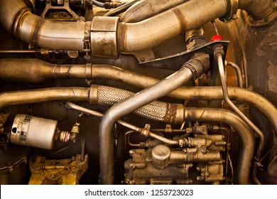 Turbofan Jet Engine working parts. Pipes and Tubes. Retro mechanical steampunk background.