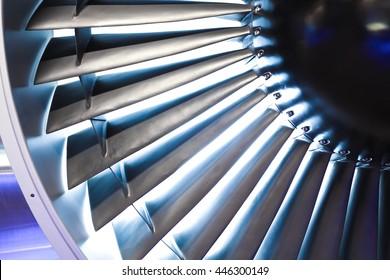 Turbo-jet engine of the plane on close up