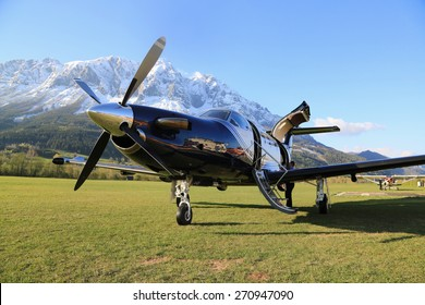 Turboprop aircraft PILATUS PC 12 NG on the ground in Alpen. Austria 17th April 2014