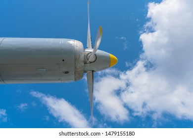 Turboprop airplane engine against the sky. Four Blade Aircraft Propeller.