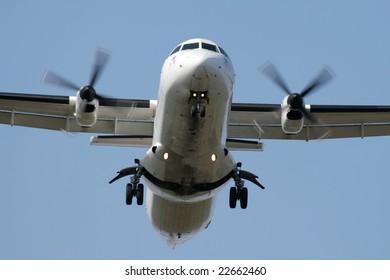 Turbo-prop airplane landing