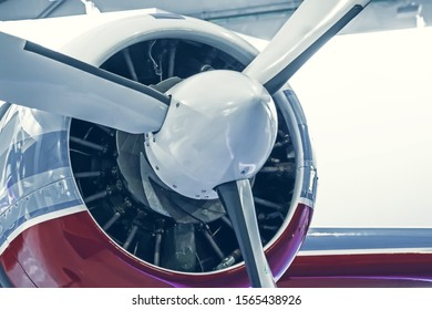 Turboprop light engine aircraft, close up view