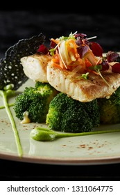 Turbot fillet with steamed broccoli