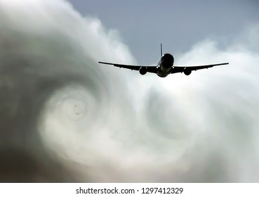 The turbulence of the clouds left by the plane during the flight.