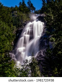 The turbulent water from Shannon Creek tumbles down Shannon Falls near Squamish, British Columbia, Canada