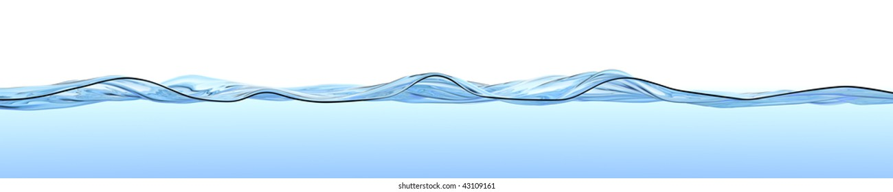Turbulent water surface with waves and ripples on a light-blue gradient with white copy space above. High quality, high-res panoramic 3D render.