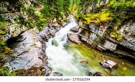 The turbulent waters of the Maligne Canyon flowing through the deep Maligne Canyon in Jasper National Park, Alberta, Canada