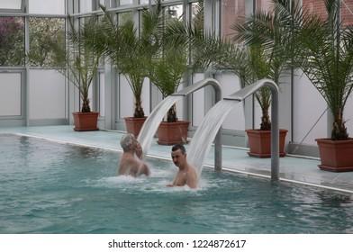 TURCIANSKE TEPLICE. ZILINA REGION. SLOVAKIA. 19 MAY 2008 : Swimming pool in spa and aquapark at Turcianske Teplice. Zilina Region. Slovakia