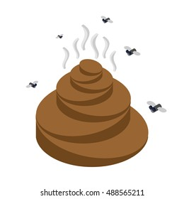 Turd isometrics. Flies and shit. Offensive feces on white background