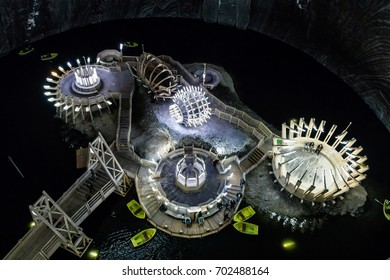 TURDA - MAY 10: Turda Salt Mine on May 10, 2016 in Turda, Romania. It was opened in the first century BC and it was operational until the early 20th century. Now serves as tourist attraction.