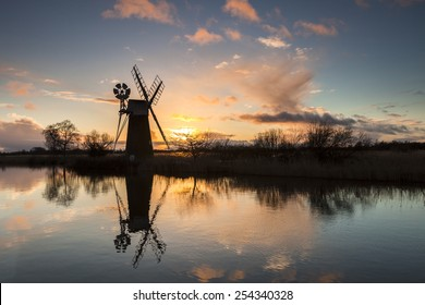 Turf Fen windpump on the Norfolk Broads at sunset
