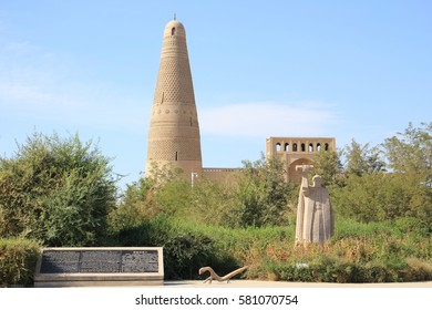 Turfan, Xinjiang, China - Oct. 6, 2016 : Emin Minaret. The Emin Minaret stands by the Uyghur mosque located in Turfan, Xinjiang, China. At 44 meters (144 ft) it is the tallest minaret in China