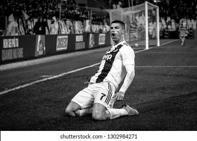 Turin, Italy. 02 February 2019. Campionato Italiano di SerieA, Juventus vs Parma 3-3. Cristiano Ronaldo, Juventus, celebrating the goal.