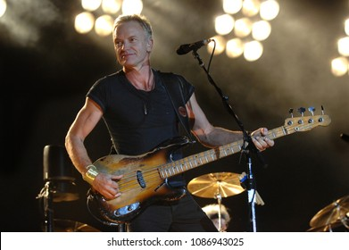 Turin Italy , 02 October 2007 , Live concert of The Police at the Delle Alpi Stadium : Sting, bassist and singer of The Police, during the concert