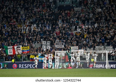 Turin, Italy, 02 October 2018. UEFA Champions League, Juventus vs Young Boys 3-0. Players of Juventus celebrating the victory with supporters.
