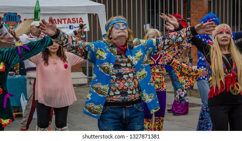 Turin, Italy 02/24/18.   hippy dance exhibition during the Balon's carnival in Turin
