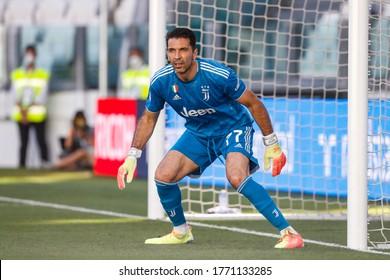Turin, Italy. 04 July 2020. Italian Serie A Soccer Championship. Juventus VS Torino 4-1. Gianluigi Buffon, goalkeeper of Juventus celebrating the new record of 648 presence.